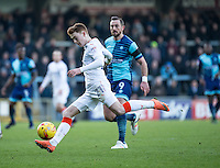 Jack Senior of Luton Town during the Sky Bet League 2 match between Wycombe Wanderers and Luton Town at Adams Park, High Wycombe, England on the 21st January 2017. Photo by Liam McAvoy.