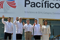 CARTAGENA - COLOMBIA, 10-02-2014 (de izq a der) Ollanta Humala, presidente del Perú,  Sebastian Piñera, presidente de Chile, Juan Manuel Santos presidente de Colombia, Enrique Peña Nieto, presidente de Mexico y Ángela Chichilla, presidenta de Costa Rica posan para la foto oficial de la VIII Cumbre de la Alianza del Pacífico, que se desarrolla en el Centro de Convenciones de Cartagena./ (from L to R ) Ollanta Humala, president of Peru, Sebastian Piñera, president of Chile, Juan Manuel Santos president of Colombia Enrique Peña Nieto, president of Mexico and Angela Chinchilla, president of Costa Rica, pose to the official picture of the VIII Summit Alianza del Pacifico at convention center in Cartagena, Colombia. Photo: VizzorImage /  Javier Casella - SIG / HANDOUT PICTURE; MANDATORY EDITORIAL USE ONLY/