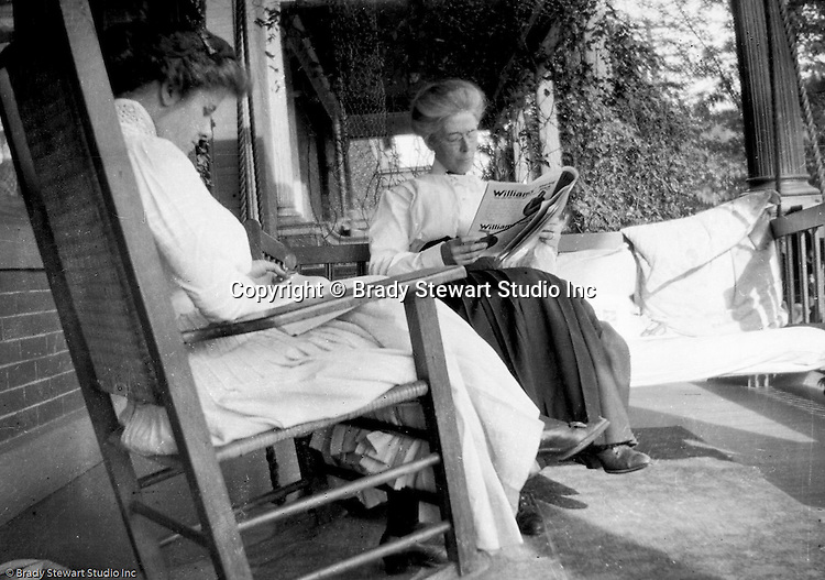 Highland Park PA:  Alice Brady Stewart and Helen Stewart reading on Brady Stewart's front porch on Wellesley Avenue - 1916