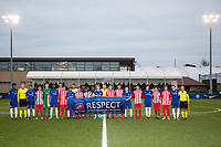 Both Teams pose for a Photo during the UEFA Youth League group match between Chelsea and Atletico Madrid Juvenil A at the Chelsea Training Ground, Cobham, England on 5 December 2017. Photo by Andy Rowland.