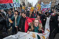 Striking UCU members and their student supporters march against pension cuts. The protest was called by the UCU London region. 14-3-18