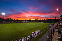 STANFORD, CA - October 8, 2015: Laird Q. Cagan Stadium sunset before the Stanford vs Oregon State women's soccer match in Stanford, California.  The Cardinal defeated the Beavers 3-0.
