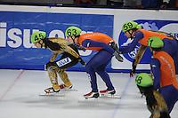SCHAATSEN: DORDRECHT: Sportboulevard, Korean Air ISU World Cup Finale, 11-02-2012, Relay Men, Satoshi Sakashita JPN (45), Freek van der Wart NED (63), Daan Breeuwsma NED (59), ©foto: Martin de Jong