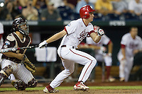 Indiana Hoosiers designated hitter Scott Donley (2) follows through on his swing against the Mississippi State Bulldogs during Game 6 of the 2013 Men's College World Series on June 17, 2013 at TD Ameritrade Park in Omaha, Nebraska. The Bulldogs defeated Hoosiers 5-4. (Andrew Woolley/Four Seam Images)