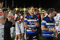Jack Wilson and the rest of the Bath Rugby team leave the field. Anglo-Welsh Cup match, between Bath Rugby and Leicester Tigers on November 10, 2017 at the Recreation Ground in Bath, England. Photo by: Patrick Khachfe / Onside Images