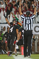 STANFORD, CA-NOVEMBER 30, 2012 - Drew Terrell celebrates a touchdown during the PAC-12 Championship at Stanford Stadium. The Stanford Cardinal advances to the Rose Bowl with a 27-24 win over the UCLA Bruins.