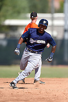 Milwaukee Brewers first baseman David Denson (8) during an Instructional League game against the San Francisco Giants on October 10, 2014 at Maryvale Baseball Park Training Complex in Phoenix, Arizona.  (Mike Janes/Four Seam Images)