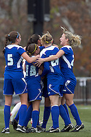 Hofstra University midfielder Courtney Breen (21) celebrates her goal with teammates. Boston College defeated Hofstra University, 3-1, in second round NCAA tournament match at Newton Soccer Field, Newton, MA.