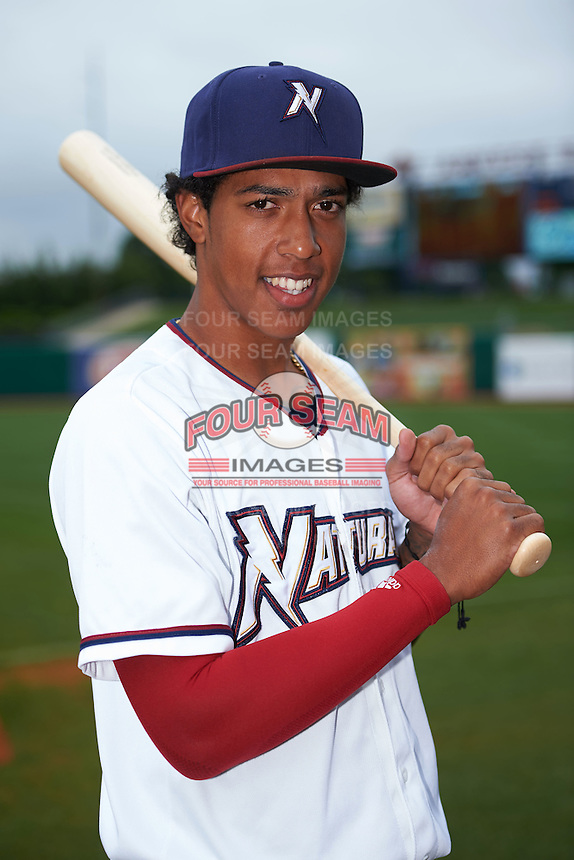 NW Arkansas shortstop Raul Mondesi (2) poses for a photo before a game against the San Antonio Missions on May 31, 2015 at Arvest Ballpark in Springdale, Arkansas.  NW Arkansas defeated San Antonio 3-1.  (Mike Janes/Four Seam Images)