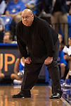 March 22,  2010                                  Saint Louis head coach Rick Majerus takes his traditional stance as he watches play late in regulation.    St. Louis University defeated the University of Wisconsin-Green Bay  68-62 in double overtime in a quarterfinal (second) round game of the College Basketball Invitational Tournament on Monday March 22, 2010 at Saint Louis University's Chaifetz Arena.