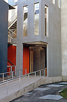 Frank Gehry: ICS/ERF Complex, Irvine 1984. Approach to stair tower.  Photo '86.
