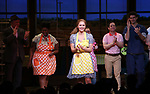 Katharine McPhee with cast during her Broadway Debut Curtain Call in 'Waitress' at the Brooke Atkinson Theatre on April 10, 2018 in New York City.