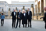 (L-R) John Harris, Orhan Pamuk, Lord Patten and Jason Cowley (also photographer Eddie Gallacher) outside the Sheldonian Theatre before the Chancellor's Lecture at the FT Weekend Oxford Literary Festival, Oxford, UK. Saturday 29 March 2014.<br /> <br /> PHOTO COPYRIGHT Graham Harrison<br /> graham@grahamharrison.com<br /> <br /> Moral rights asserted.