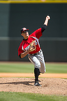 Carolina Mudcats relief pitcher Matt Marksberry (48) in action against the Winston-Salem Dash at BB&T Ballpark on April 22, 2015 in Winston-Salem, North Carolina.  The Dash defeated the Mudcats 4-2..  (Brian Westerholt/Four Seam Images)