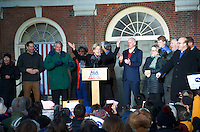 Senator Elizabeth Warren atSave Affordable Care Act rally with MA Congressional delegation at Faneuil Hall Boston MA 1.15.17