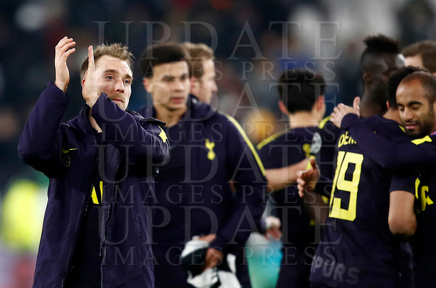 Football Soccer: UEFA Champions League Juventus vs Tottenahm Hotspurs FC, Round of 16 1st leg, Allianz Stadium. Turin, Italy, February 13, 2018. <br /> Tottenahm's Christian Eriksen (l) and his teammates greets supporters at the end of the Uefa Champions League football soccer match between Juventus and Tottenahm Hotspurs FC at Allianz Stadium in Turin, February 13, 2018.<br /> Juventus and Tottenahm Hotspurs FC drawn 2-2<br /> UPDATE IMAGES PRESS/Isabella Bonotto