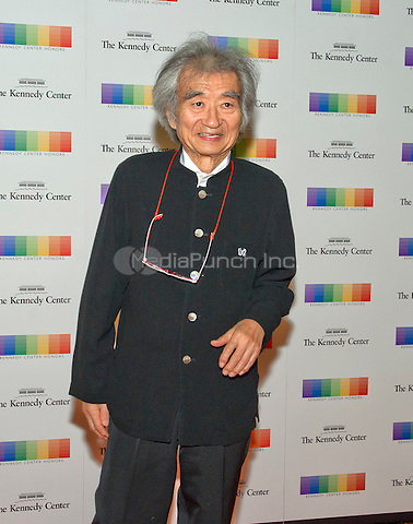 Conductor Seiji Ozawa arrives for the formal Artist's Dinner honoring the recipients of the 38th Annual Kennedy Center Honors hosted by United States Secretary of State John F. Kerry at the U.S. Department of State in Washington, D.C. on Saturday, December 5, 2015. The 2015 honorees are: singer-songwriter Carole King, filmmaker George Lucas, actress and singer Rita Moreno, conductor Seiji Ozawa, and actress and Broadway star Cicely Tyson.<br /> Credit: Ron Sachs / Pool via CNP/MediaPunch