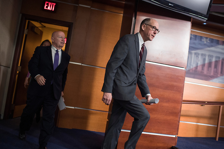 UNITED STATES - MARCH 7: Rep. Greg Walden, R-Ore., right, chairman of the House Energy and Commerce Committee, and Rep. Kevin Brady, R-Texas, chairman of the House Ways and Means Committee, arrive for a news conference in the House studio on the American Health Care Act, the House Republican's plan to replace the Affordable Care Act, March 7, 2017. (Photo By Tom Williams/CQ Roll Call)