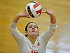 Katherino Pino #15 of Sacred Heart Academy makes a set during a CHSAA varsity girls volleyball match against Kellenberg High School at Sacred Heart Academy in Hempstead on Tuesday, Oct. 4, 2016. Kellenberg won the match 3-0.