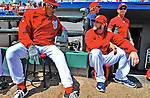 12 March 2012: Washington Nationals outfielder Bryce Harper listens to coach Pat Corrales prior to a Spring Training game against the St. Louis Cardinals at Space Coast Stadium in Viera, Florida. The Nationals defeated the Cardinals 8-4 in Grapefruit League play. Mandatory Credit: Ed Wolfstein Photo