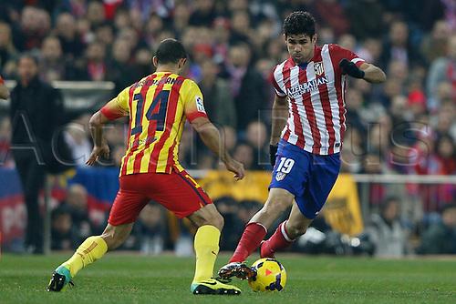 11.01.2014 Madrid, Spain. Atletico de Madrid versus F.C. Barcelona at Vicente Calderon stadium.  Diego da Silva Costa (Brazilian midfielder of At. Madrid)