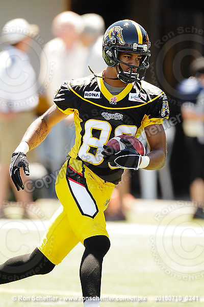 July 10, 2010; Hamilton, ON, CAN; Hamilton Tiger-Cats wide receiver Maurice Mann (86). CFL football: Calgary Stampeders vs. Hamilton Tiger-Cats at Ivor Wynne Stadium. The Tiger-Cats lost against the Stampeders 23-22. Mandatory Credit: Ron Scheffler. Copyright (c) 2010 Ron Scheffler.