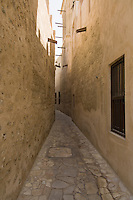 United Arab Emirates, Dubai, Alleyway, Bastakiya Quarter, restored historic site