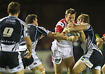 No way through for Ulster wing Tommy Bowe..RaboDirect Pro12.Cardiff Blues v Ulster Rugby.Cardiff Arms Park.28.09.12.©Steve Pope