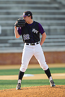 High Point Panthers starting pitcher Will Resnik (22) looks to his catcher for the sign against the Wake Forest Demon Deacons at Wake Forest Baseball Park on April 2, 2014 in Winston-Salem, North Carolina.  The Demon Deacons defeated the Panthers 10-6.  (Brian Westerholt/Four Seam Images)