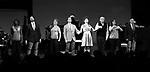 """Housso Semon, Andrew Fitch, Ivy Auston, Hugh Panaro, Lucie Arnaz, Robert Klein, Debbie Gravitte and Hal Shane during the curtain call bows for """"They're Playing Our Song"""" Concert Benefit for The Actors Fund at the Music Box Theatre on February 11, 2019 in New York City."""