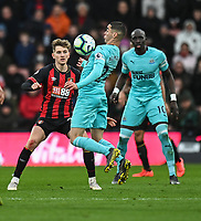 Bournemouth's David Brooks (left) and Newcastle United's Miguel Almiron (centre)<br /> <br /> Photographer David Horton/CameraSport<br /> <br /> The Premier League - Bournemouth v Newcastle United - Saturday 16th March 2019 - Vitality Stadium - Bournemouth<br /> <br /> World Copyright © 2019 CameraSport. All rights reserved. 43 Linden Ave. Countesthorpe. Leicester. England. LE8 5PG - Tel: +44 (0) 116 277 4147 - admin@camerasport.com - www.camerasport.com