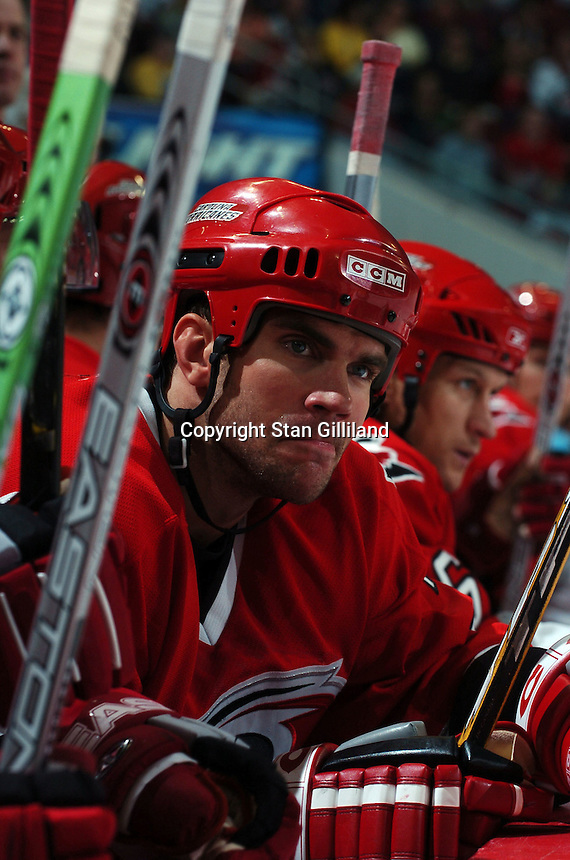 Carolina Hurricanes' defenseman Niclas Wallin of Sweden watches from the bench during a game with the Washington Capitals Wednesday, Oct. 12, 2005 in Raleigh, NC. Carolina won 7-2.