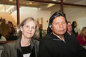 Washington DC, USA. Chico Vive conference, 5th April 2014. Conference speakers Laura Graham (Cultural Survival) and Hiparidi Top'tiro, Xavante leader.