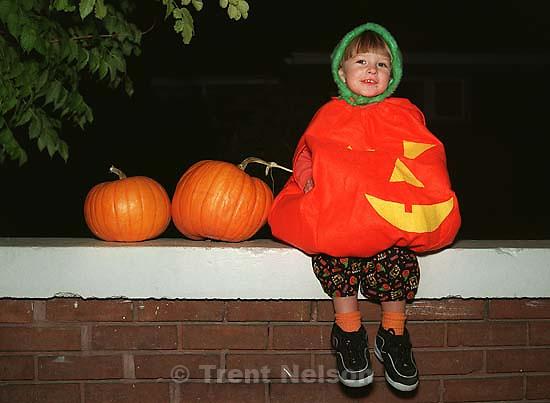 Noah Nelson as a pumpkin for Halloween.<br />
