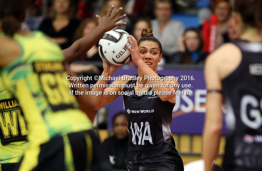 11.09.2016 Silver Ferns Grace Rasmussen in action during the Taini Jamison netball match between the Silver Ferns and Jamaica played at Trafalgar Centre in Nelson. Mandatory Photo Credit ©Michael Bradley.