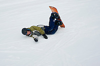 Lucas learning to snowboard. Ski Fest Tremblant Quebec, Canada