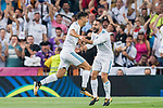 Marco Asensio Willemsen of Real Madrid celebrates with teammate Daniel Carvajal Ramos during their Supercopa de Espana Final 2nd Leg match between Real Madrid and FC Barcelona at the Estadio Santiago Bernabeu on 16 August 2017 in Madrid, Spain. Photo by Diego Gonzalez Souto / Power Sport Images
