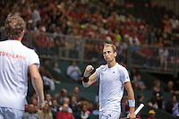 Switserland, Genève, September 19, 2015, Tennis,   Davis Cup, Switserland-Netherlands, Doubles: Dutch team Matwe Middelkoop/Thiemo de Bakker (R)  photo2<br /> Photo: Tennisimages/Henk Koster
