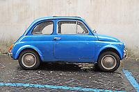 A blue 1960's Fiat 500