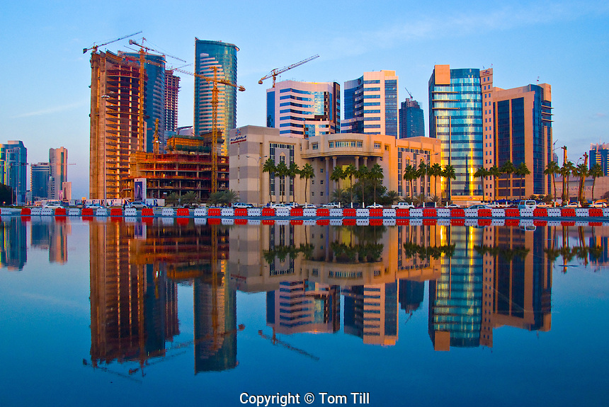 Downtown towers of Doha, Reflected in rare spring rain, Qatar, Arabian Pennisula, Persian Gulf