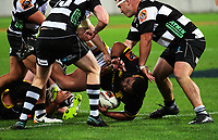 Tolu Fahamokoia is tackled during the Mitre 10 Cup rugby union match between Wellington Lions and Hawkes Bay Magpies at Westpac Stadium, Wellington, New Zealand on Wednesday, 6 September 2017. Photo: Dave Lintott / lintottphoto.co.nz