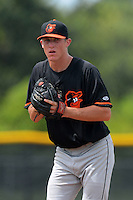GCL Orioles pitcher Garrett Cortright (43) during a game against the GCL Rays on July 20, 2013 at Charlotte Sports Complex in Port Charlotte, Florida.  GCL Orioles defeated the GCL Rays 4-1.  (Mike Janes/Four Seam Images)