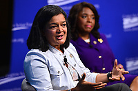 Washington, DC - July 16, 2018: U.S. Representative Pramila Jayapal (D-WA) participates in a pro-voter and anti-corruption congressional discussion moderated by Winnie Stachelberg at the Center for Amercian Progress in Washington, DC.. July 16, 2018, as Rep. Terri Sewell looks on.  (Photo by Don Baxter/Media Images International)