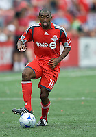 18 July 2009:Toronto FC defender Marvell Wynne #16 in action during a game between the Toronto FC and Houston Dynamo..The game ended in a 1-1 draw..