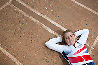 26 MAY 2015 - IPSWICH, GBR - Charlie-Jane Herbert of Ipswich Cycle Speedway Club, the British 2014 Individual Women's Cycle Speedway champion, at the club's track at Whitton Sports and Community Centre in Ipswich, Suffolk, Great Britain (PHOTO COPYRIGHT © 2015 NIGEL FARROW, ALL RIGHTS RESERVED)