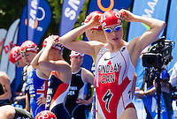 05 JUN 2011 - MADRID, ESP - Paula Findlay waits for the start of the swim at the Madrid round of the women's ITU World Championship series (PHOTO (C) NIGEL FARROW)