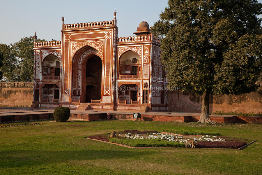 Agra, India.  North Pavilion in the Garden Surrounding the Itimad-ud-Dawlah.