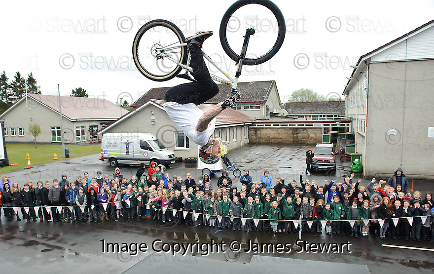 The Riderz stunt team perform for the pupils at Lenzie Moss Primary School.......