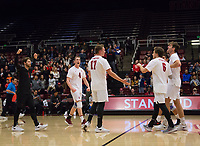 STANFORD, CA - January 5, 2019: Eli Wopat, Eric Beatty, Kyle Dagostino, Russell Dervay, Kyler Presho at Maples Pavilion. The Stanford Cardinal defeated UC Santa Cruz 25-11, 25-17, 25-15.