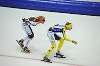 SCHAATSEN: HEERENVEEN: 25-10-2014, IJsstadion Thialf, Marathonschaatsen, KPN Marathon Cup 2, Mariska Huisman (#76), Carien Kleibeuker (#26), ©foto Martin de Jong